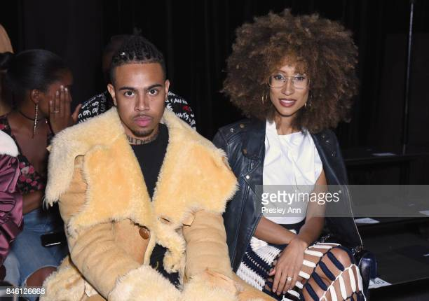 Vic Mensa and Elaine Welteroth attends Coach Spring 2018 fashion show during New York Fashion Week at Basketball City Pier 36 South Street on...