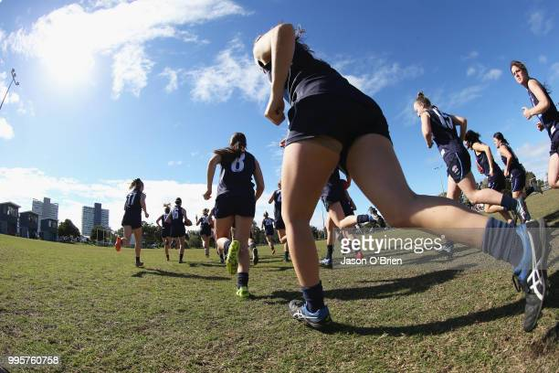 Vic Metro run out during the AFLW U18 Championships match between Queensland and Vic Metro at Broadbeach Sports Club on July 11 2018 in Gold Coast...