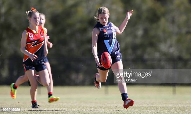 Vic Metro's Abbie Mckay in action during the AFLW U18 Championships match between Vic Metro v Central Allies at Bond University on July 13 2018 in...