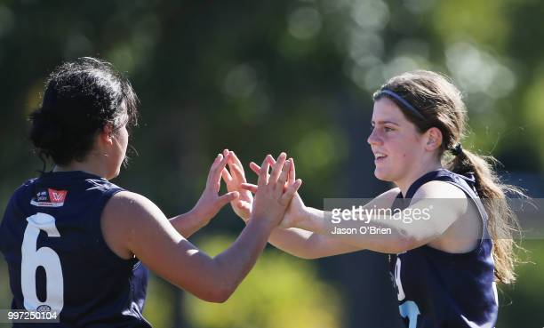 Vic Metro's Daisy Bateman celebrates a goal during the AFLW U18 Championships match between Vic Metro v Central Allies at Bond University on July 13...