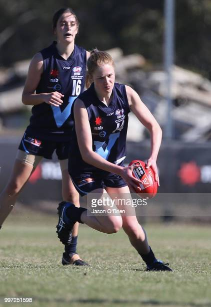 Vic Metro's Isabella Grant in action during the AFLW U18 Championships match between Vic Metro v Central Allies at Bond University on July 13 2018 in...