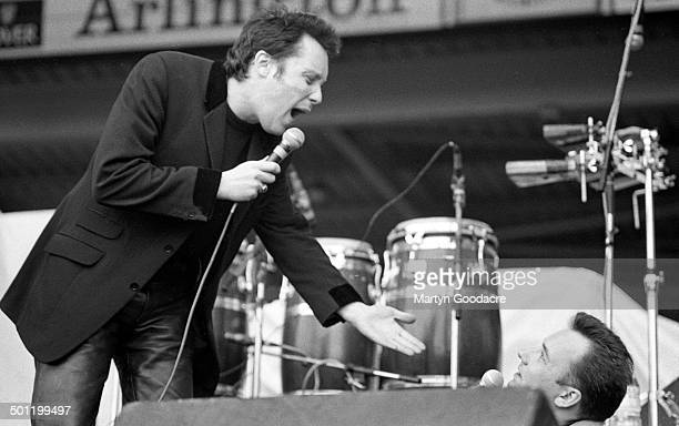 Vic Reeves and Bob Mortimer appear on stage to introduce the Wonderstuff at Bescot Stadium Walsall Football Club United Kingdom 22nd June 1991