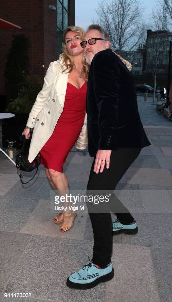 Vic Reeves and Nancy Sorrel seen attending the Bluebird Cafe launch party at Television Centre on April 10 2018 in London England
