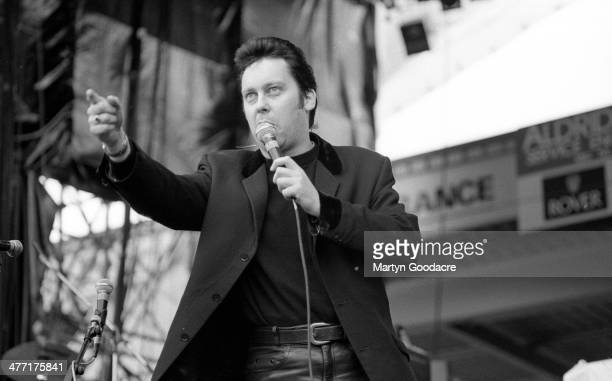 Vic Reeves introduces The Wonderstuff at Bescot Stadium Walsall Football Club United Kingdom 22nd June 1991