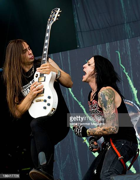 Vic Zino and Joakim Berg of Swedish hard rock group Hardcore Superstar performing live on stage at Download Festival on June 13 2009 at Donington Park