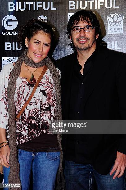 Vica Andrade and Memo del Bosque during the red carpet of the premiere of the movie Biutiful at Cinemex Antara on October 18 2010 in Mexico City...
