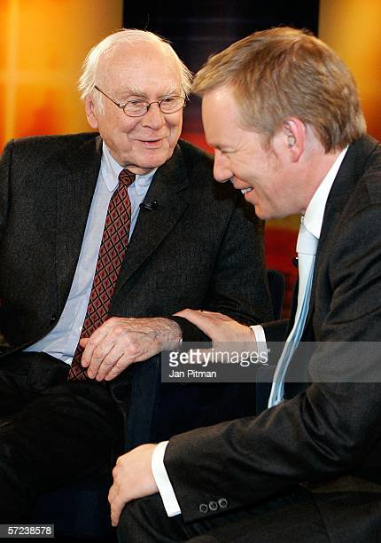 Vicco von Buelow known as 'Loriot' and Johannes B Kerner chat after the TV show 'Kerner' on April 3 2006 in Weilheim Germany