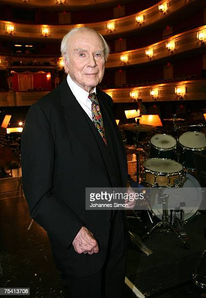 Vicco von Buelow known as 'Loriot' poses on stage of Gaertnerplatz theatre after performing for the last time in Leonard Bernstein's musical...