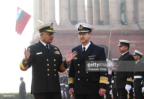 Vice Admiral Axel Schimpf Chief of Staff of German Navy with Chief of Indian Naval Staff Admiral Nirmal Verma after inspecting guard of honor at...