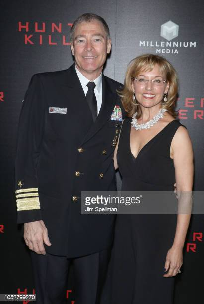 Vice Admiral Frederick J Roegge and wife attend the world premiere of Hunter Killer hosted by Lionsgate at Intrepid SeaAirSpace Museum on October 22...