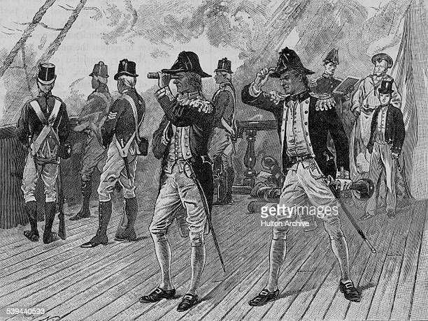 Vice Admiral Horatio Nelson aboard the HMS Elephant a 74gun thirdrate ship of the line puts a telescope up to his blind eye to ignore the signal to...