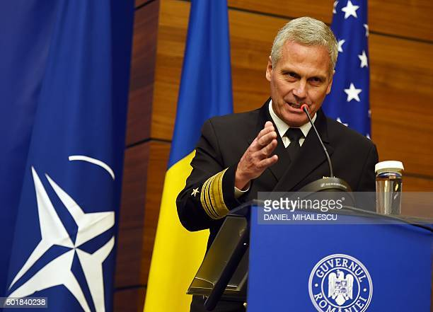 US Vice Admiral James D Syring Director of the Missile Defence Agency delivers a speech at the Romanian Foreign Ministry during a ceremony declaring...