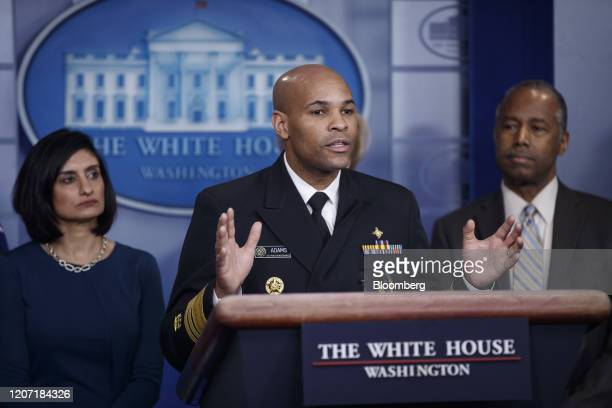 Vice Admiral Jerome Adams US Surgeon General speaks during a news conference in the briefing room of the White House in Washington DC US on Saturday...