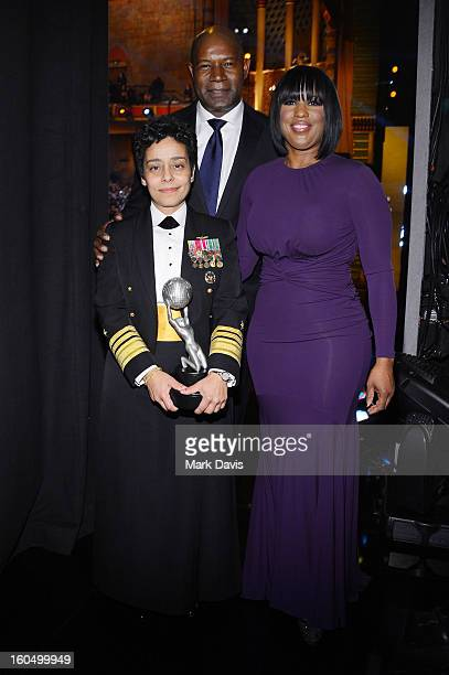 Vice Admiral Michelle Howard recipient of the Chairman's Award actor Dennis Haysbert and NAACP Chairman of the National Board of Directors Roslyn M...