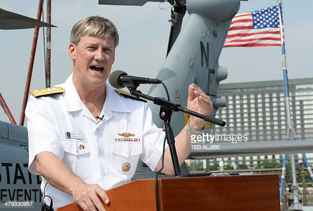 US vice admiral Robert Thomas Jr Seventh Fleet commander speaks during a press conference aboard USS Blue Ridgecommand ship shortly after arriving at...