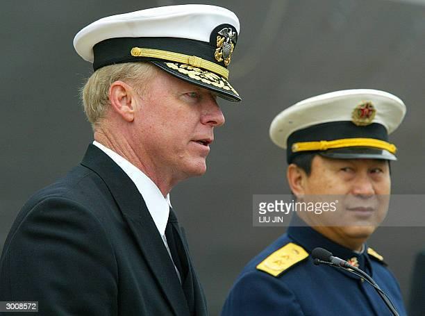 Vice Admiral Robert Willard , the commander of US Seventh Fleet, delivers his speech as Zhao Guojun the commander of the Eastern China Sea Fleet...