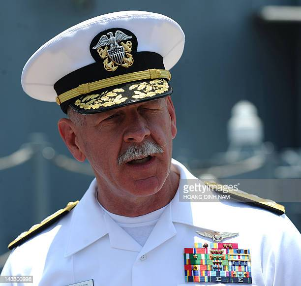 Vice Admiral Scott Swift Commander of the US Seventh Fleet speaks to journalists at the end of a welcoming ceremony to mark the port call of three US...
