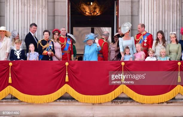 Vice Admiral Sir Tim Laurence Princess Anne Princess Royal Princess Beatrice Prince Andrew Duke of York Camilla Duchess Of Cornwall Queen Elizabeth...