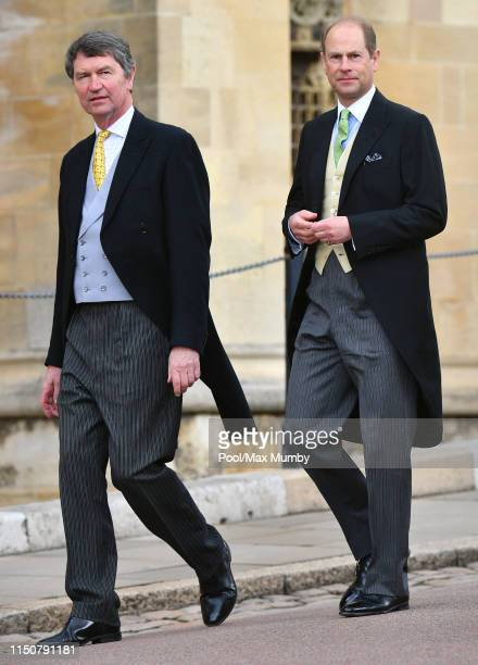 Vice Admiral Sir Timothy Laurence and Prince Edward, Earl of Wessex attend the wedding of Lady Gabriella Windsor and Thomas Kingston at St George's...