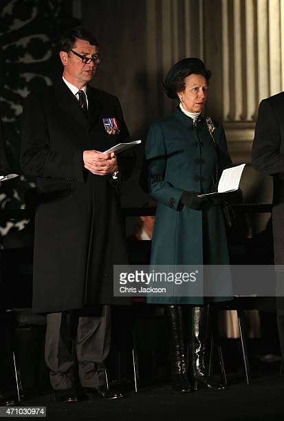 Vice Admiral Sir Timothy Laurence and Princess Anne, Princess Royal attends the early morning ANZAC Day Dawn Service to start at Wellington Arch on...
