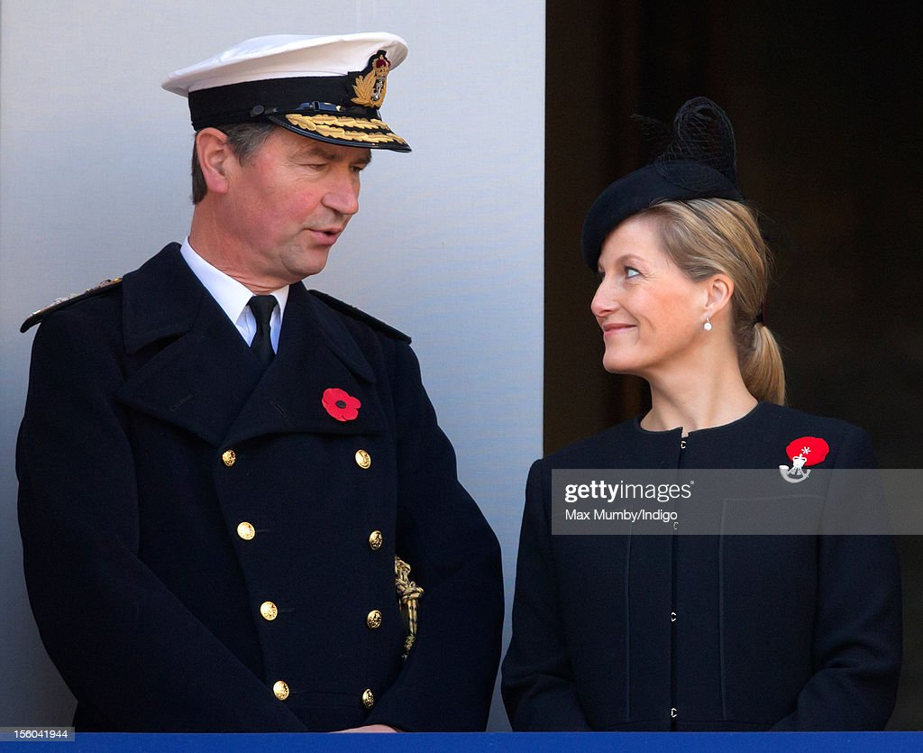 Vice Admiral Sir Timothy Laurence and Sophie, Countess of Wessex attend the annual Remembrance Sunday Service at the Cenotaph, Whitehall on November 11, 2012 in London, England. Remembrance Sunday tributes were carried out across the nation to pay respects to all who those who lost their lives in current and past conflicts, including the First and Second World Wars.