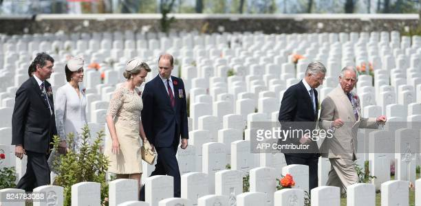 Vice Admiral Sir Timothy Laurence Britain's Princess Catherine Duchess of Cambridge Queen Mathilde of Belgium Britain's Prince William and King...