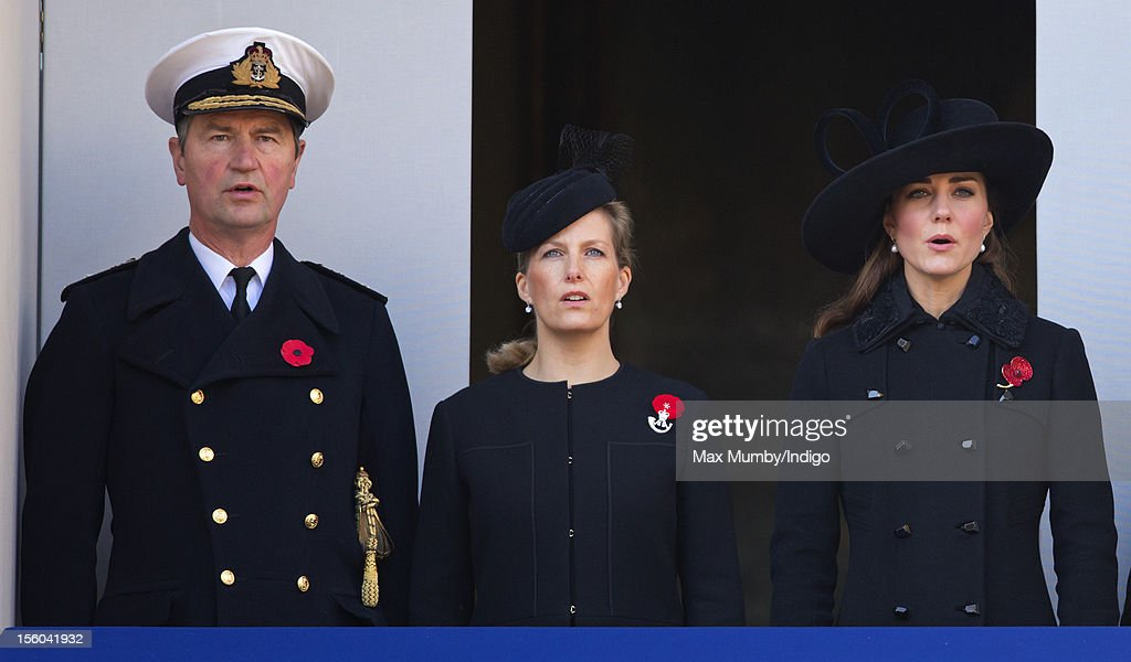 Vice Admiral Sir Timothy Laurence, Sophie, Countess of Wessex and Catherine, Duchess of Cambridge attend the annual Remembrance Sunday Service at the Cenotaph, Whitehall on November 11, 2012 in London, England. Remembrance Sunday tributes were carried out across the nation to pay respects to all who those who lost their lives in current and past conflicts, including the First and Second World Wars.