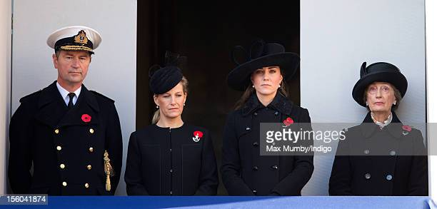 Vice Admiral Sir Timothy Laurence Sophie Countess of Wessex Catherine Duchess of Cambridge and Lady Susan Hussey attend the annual Remembrance Sunday...