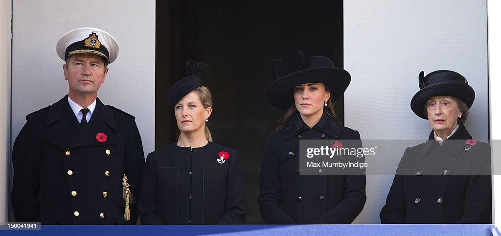 Vice Admiral Sir Timothy Laurence, Sophie, Countess of Wessex, Catherine, Duchess of Cambridge and Lady Susan Hussey (Lady in Waiting to Queen Elizabeth II and Godmother to Prince William, Duke of Cambridge) attend the annual Remembrance Sunday Service at the Cenotaph, Whitehall on November 11, 2012 in London, England. Remembrance Sunday tributes were carried out across the nation to pay respects to all who those who lost their lives in current and past conflicts, including the First and Second World Wars.