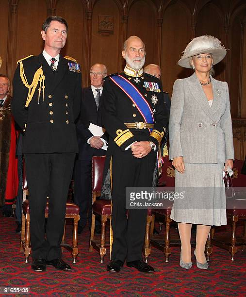 Vice Admiral Timothy Laurence and TRH Princess Michael of Kent and Prince Michael of Kent attend a reception at London Guildhall after a Service of...