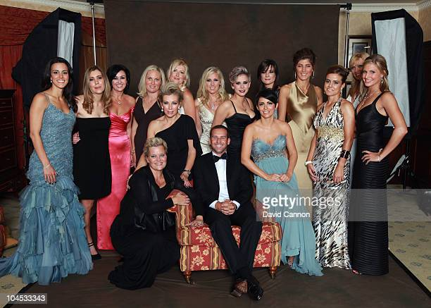 Vice Captain Sergio Garcia, poses with the wives and partners of the European Ryder Cup team members prior to the 2010 Ryder Cup Dinner at the Celtic...