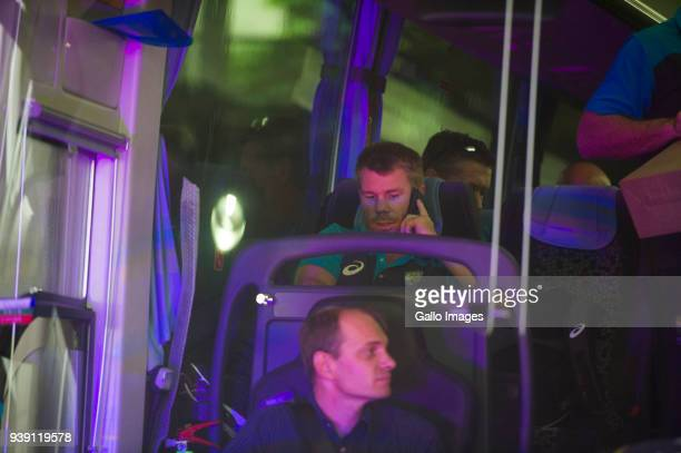 Vice captian of the Australian cricket team on the team bus in the team bus shortly after they arrived at OR Tambo International Airport on March 27...