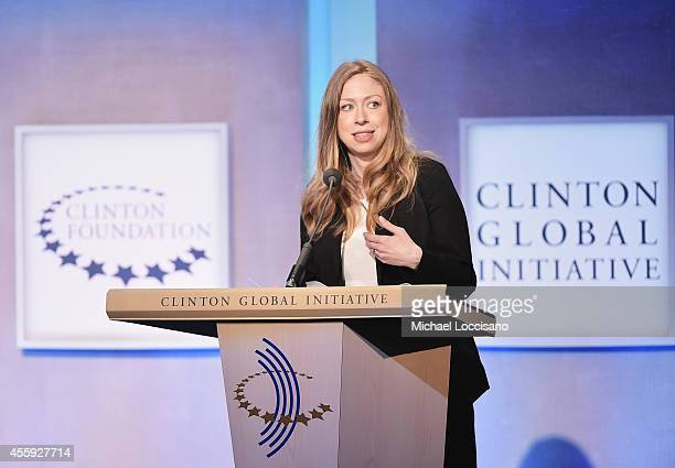 Vice chair of the Clinton Foundation Chelsea Clinton addresses the audience during the Opening Plenary Session Reimagining Impact panel discussion...