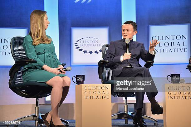 Vice chair of the Clinton Foundation Chelsea Clinton and Alibaba Executive Chairman Jack Ma take part in the 'Valuing What Matters' Plenary Session...