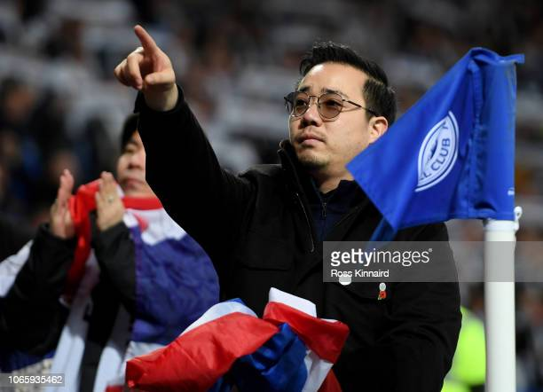 Vice Chairman Aiyawatt Srivaddhanaprabha greets the fans after the Premier League match between Leicester City and Burnley FC at The King Power...