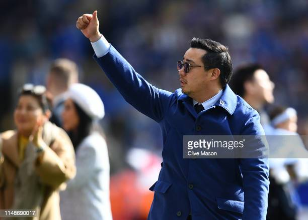 Vice Chairman Aiyawatt Srivaddhanaprabha of Leicester City waves during the lap of appreciation after the Premier League match between Leicester City...