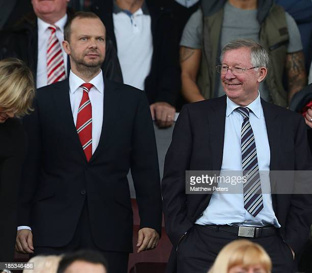 Vice Chairman Ed Woodward and former Manchester United manager Sir Alex Ferguson watches from the directors' box during the Barclays Premier League...