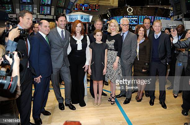 Vice Chairman Michael Burns and Mad Men creatorexecutive producer Matthew Weiner joined by series stars Jon Hamm Christina Hendricks Lionsgate CEO...