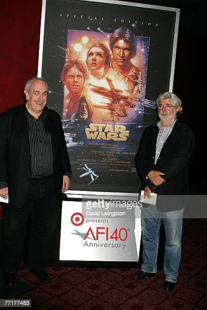 ACCESS*** Vice Chairman of AFI Board of Trustees Tom Pollack and director George Lucas present the film 'Star Wars Episode IV A New Hope' at AFI's...
