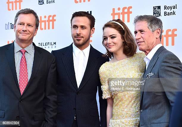 Vice Chairman of Lionsgate Michael Burns actors Emma Stone Ryan Gosling and Lionsgate CEO Jon Feltheimer attend the La La Land Premiere during the...