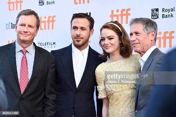 Vice Chairman of Lionsgate Michael Burns actors Ryan Gosling Emma Stone and Lionsgate CEO Jon Feltheimer attend the La La Land Premiere during the...