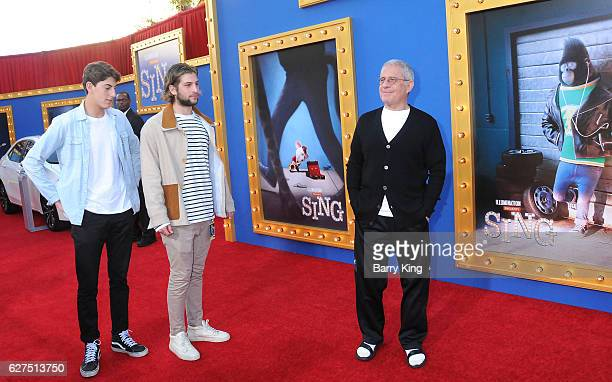Vice Chairman of NBCUniversal Ron Meyer and his son Eli Meyer and guest attend the premiere of Universal Pictures' 'Sing' at Microsoft Theater on...