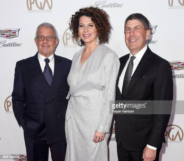 Vice Chairman of NBCUniversal Ronald Meyer honoree Donna Langley and Chairman of Universal Filmed Entertainment Group Jeff Shell attend the 29th...