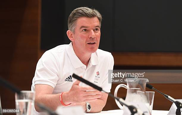 Vice Chairman of The British Olympic Association Sir Hugh Roberston speaks to journalists during the Team GB press conference at the Sofitel Heathrow...