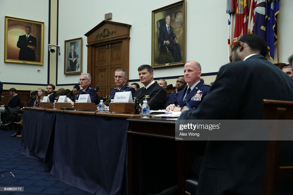 Vice Chairman of the Joint Chiefs of Staff Air Force Gen. Paul Selva, Commander of the U.S. Strategic Command Air Force Gen. John Hyten, Vice Chief of Naval Operations Adm. Bill Moran, and Vice Chief of Staff of the Air Force Gen. Stephen Wilson testify during a hearing before House Armed Services Committee March 8, 2017 on Capitol Hill in Washington, DC. The committee held a hearing on 'Military Assessment of Nuclear Deterrence Requirements.'
