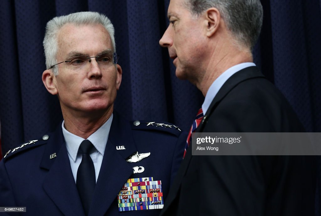 Vice Chairman of the Joint Chiefs of Staff Air Force Gen. Paul Selva (L) talks to committee chairman Rep. Mac Thornberry (R-TX) (R) after a hearing before House Armed Services Committee March 8, 2017 on Capitol Hill in Washington, DC. The committee held a hearing on 'Military Assessment of Nuclear Deterrence Requirements.'
