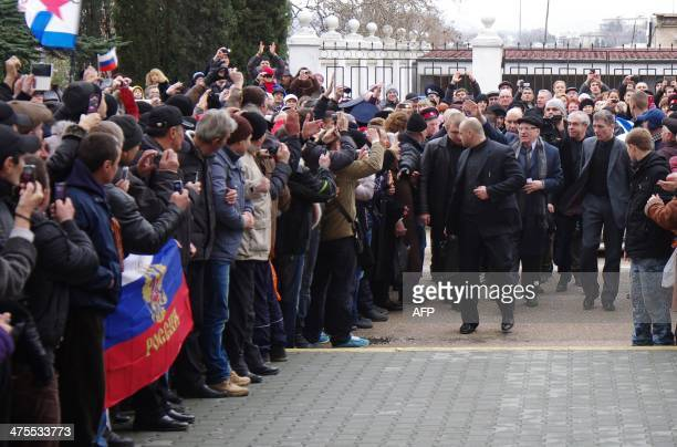 Vice Chairman of the Russian State Duma Vladimir Zhirinovsky greets proRussian people prior to his speach on the main square of Sevastopol on...