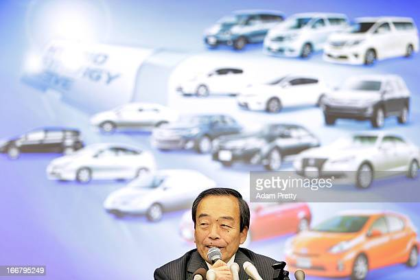 Vice Chairman of Toyota Mr Takeshi Uchiyamada speaks to the media at a press conference on April 17 2013 in Tokyo Japan Toyota announces the sales of...