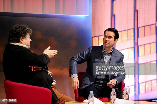 Vice Chairman Ogilvy Mather Group UK Rory Sutherland and Comedian Jimmy Carr are seeb during 'It's The Way You Tell Em' as part of Advertising Week...