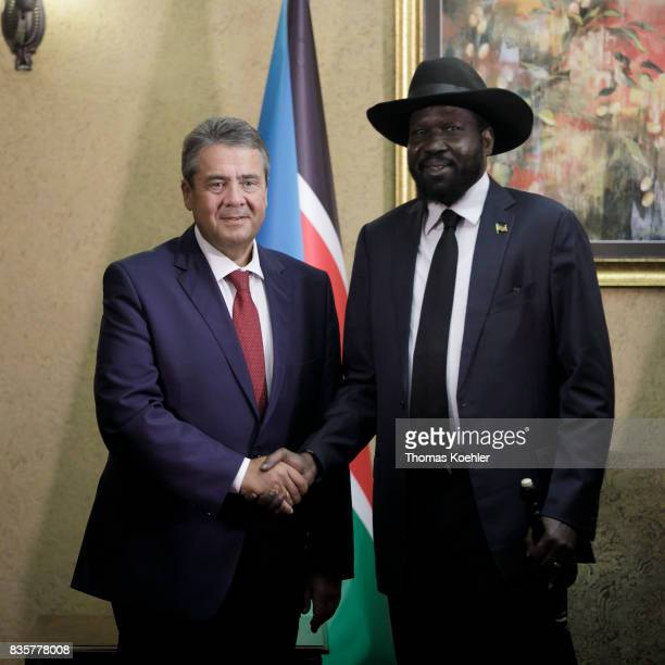 Vice Chancellor and Federal Foreign Minister Sigmar Gabriel SPD meets the President of the Republic of South Sudan Salva Kiir Mayardit on August 10...